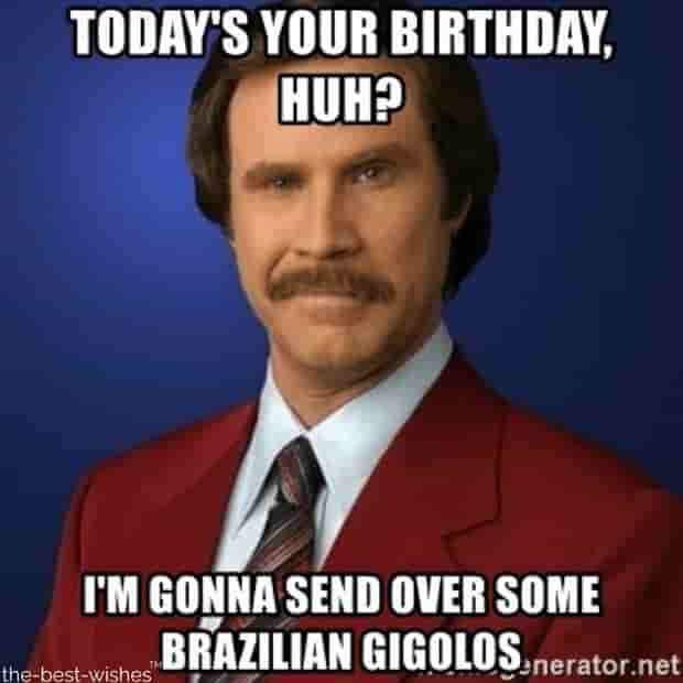 ron burgundy funny memes for birthday