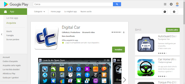 Digital Car - Applicazione Android - Google Play Store