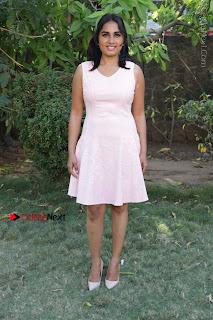 Actress Srushti Dange Stills in Short Dress at Mupparimanam Press Meet  0034.jpg