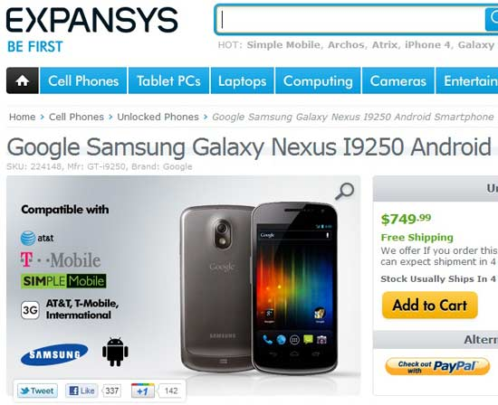 price of contract free carrier unlocked samsung galaxy nexus