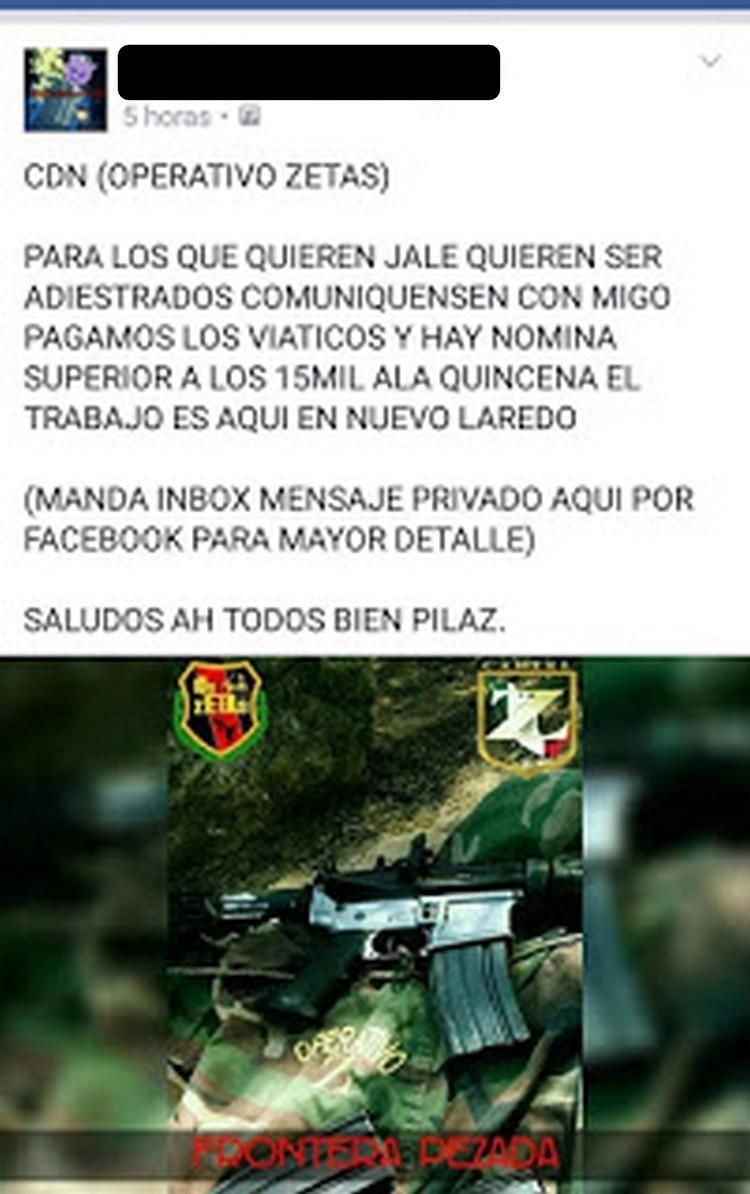 CDN Operativo Zetas y su bolsa de trabajo de hasta 15 mil,  solo que no hay seguro por muerte en Nuevo Laredo Tamaulipas