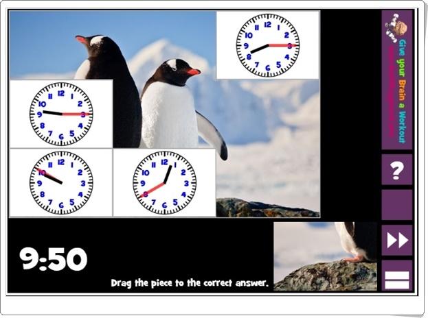 """""""Puzzle pics clocks"""" (Juego de Medida del Tiempo de Primaria)"""