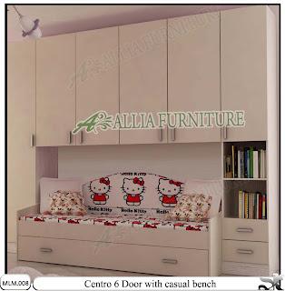 Lemari Baju Minimalis Pakaian dan Sofa Centro White bone