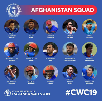 AFGHANISTAN SQUAD ANNOUNCED FOR ICC CRICKET WORLD CUP 2019