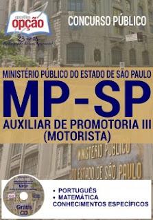 Apostila do Concurso Ministério Público-SP para auxiliar de promotoria III MP/SP, cargo motorista.