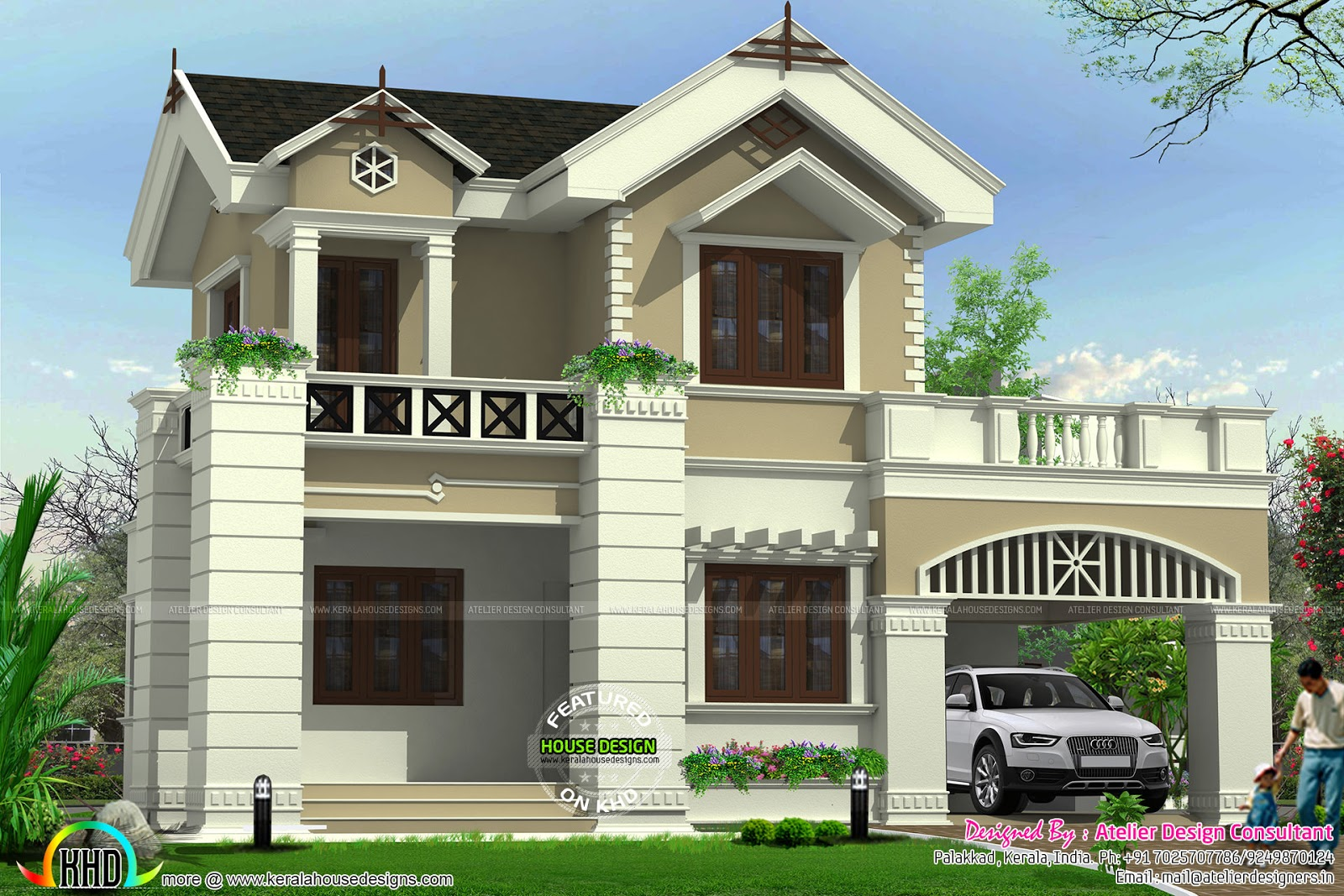 Cute victorian model home kerala home design and floor plans for Photos of model homes