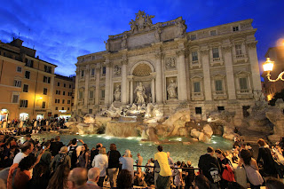 Large crowds flock to the Trevi at all hours of the day