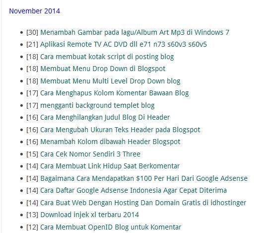 Bikin Daftar isi Otomatis Di blog menurut bulan