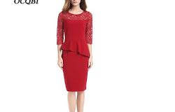 c485759b7f S-XL Plus Size Women Summer Lace Elegant Office Lady Bodycon Sundress  Casual Sexy Midi Dress