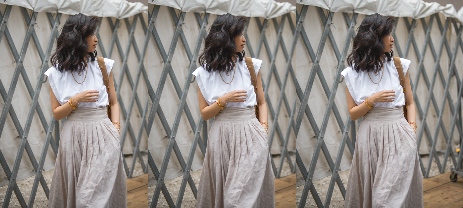 Summer outfit ideas, girl wearing shoulder padded sleeve tshirt and linen skirt, linen skirt outfit for summer, linen skirt style, fashion blogger from NYC and Tokyo / FOREVERVANNY