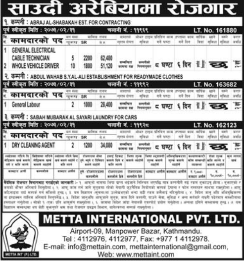 Jobs For Nepali In Saudi Arabia, Salary -Rs.62,480/