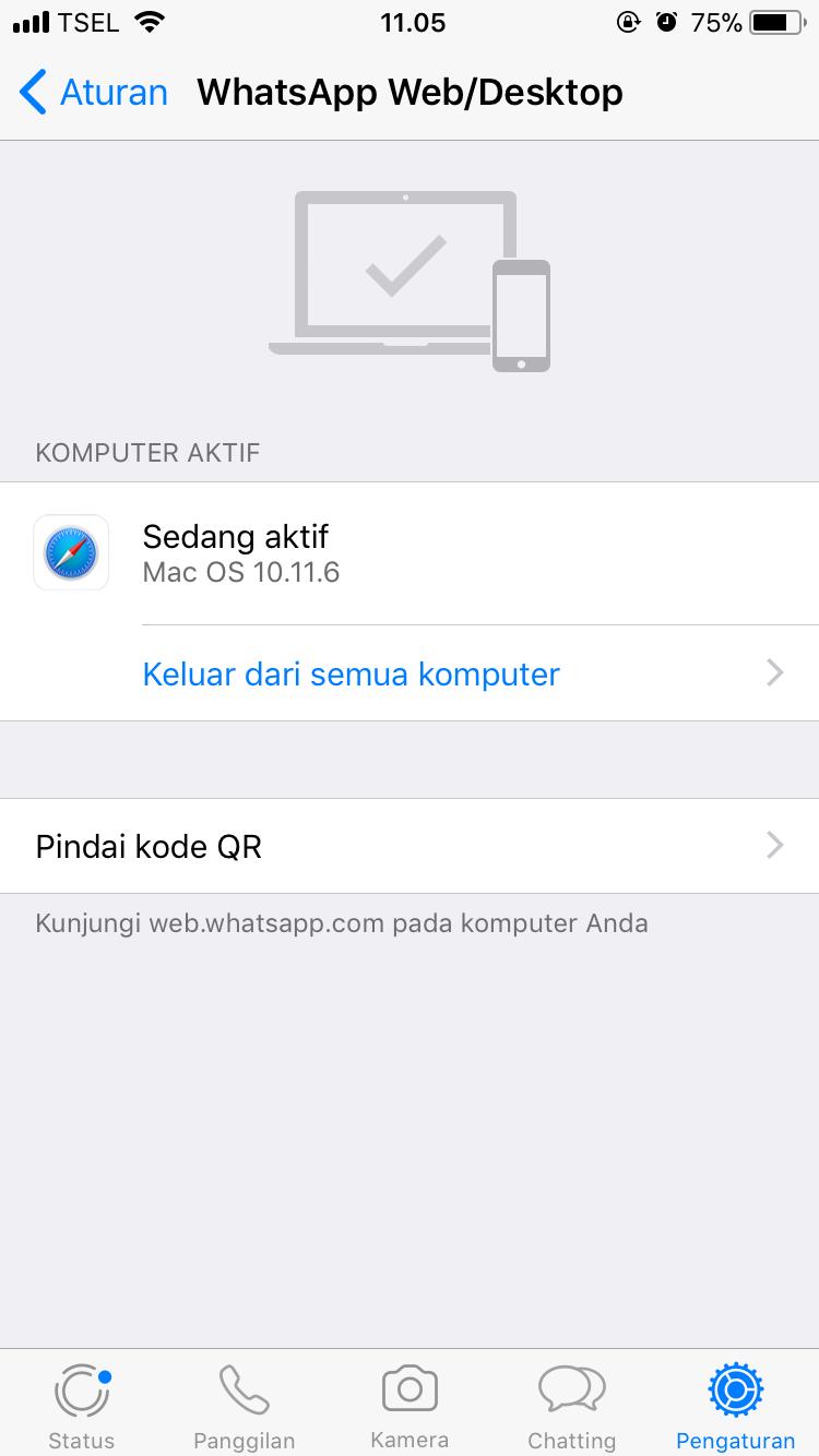 Log Out WhatsApp Web di iPhone