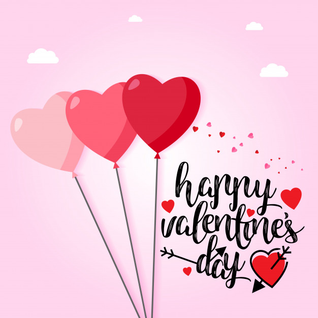 Happy Valentine's day with light pink background Free Vector
