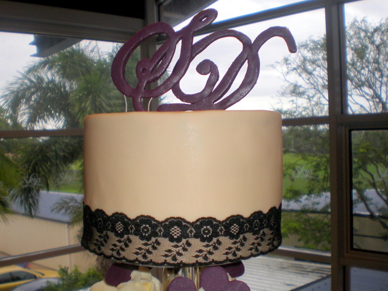Purple Hearts Wedding Sugar Siren Cak...