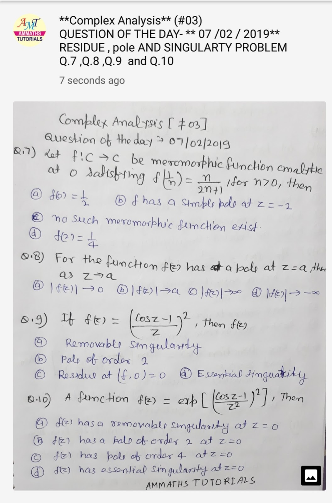 AMMATHS TUTORIALS : #03 Complex Analysis - QUESTION OF THE