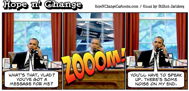 obama, obama jokes, political, humor, cartoon, conservative, hope n' change, hope and change, stilton jarlsberg, putin, jet, fly by, russia, destroyer