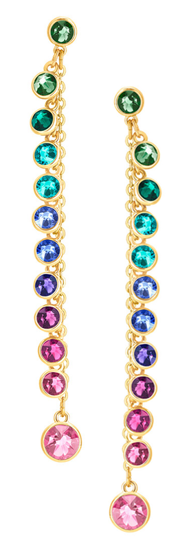 SWAROVSKI ATTRACT PIERCED EARRINGS, MULTI-COLORED, GOLD PLATING