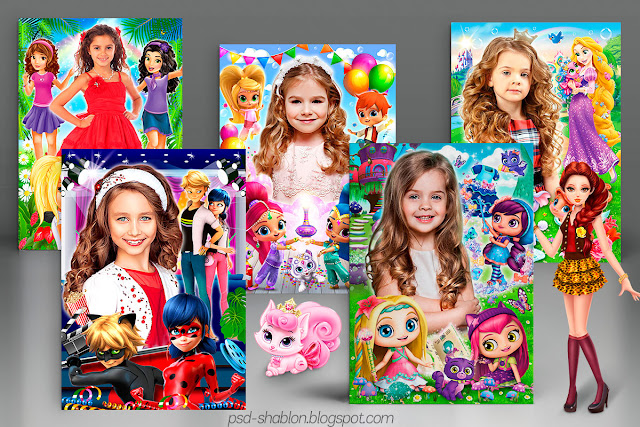 шаблоны открыток для девочек