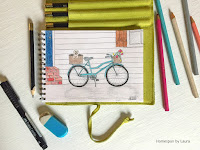 homespun by laura daily doodle colored pencil sketch vintage beach cruiser bike