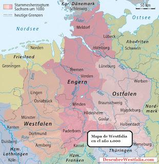 Historia de Westfalia - Mapa del año 1000