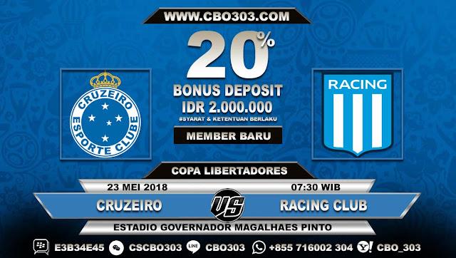 Prediksi Bola Cruzeiro VS Racing Club 23 Mei 2018