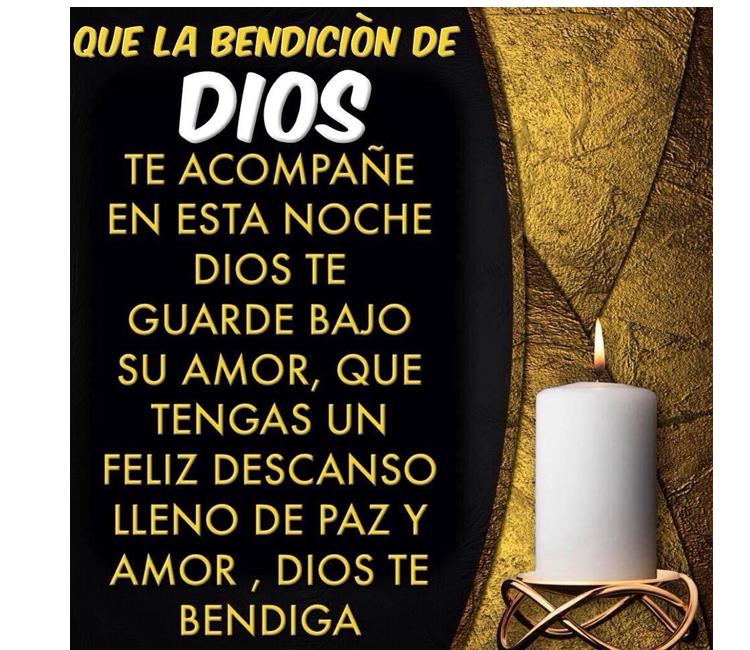 Buenas noches✅que la bendición de Dios te acompañe esta noche, Dios te guarde bajo su amor, que tengas un feliz descanso de paz y amor, Dios te bendiga.