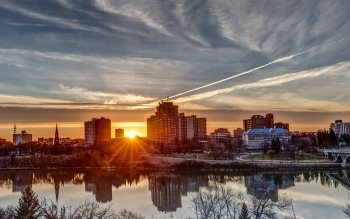 Wallpaper: Sunset and reflections over Saskatoon