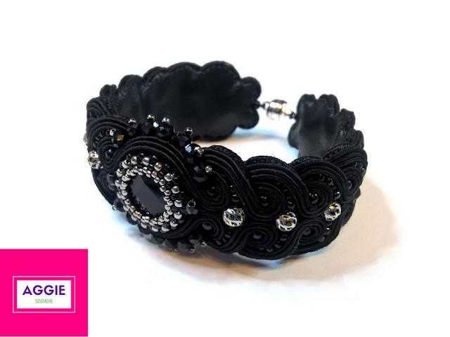 elegant black soutache bracelet