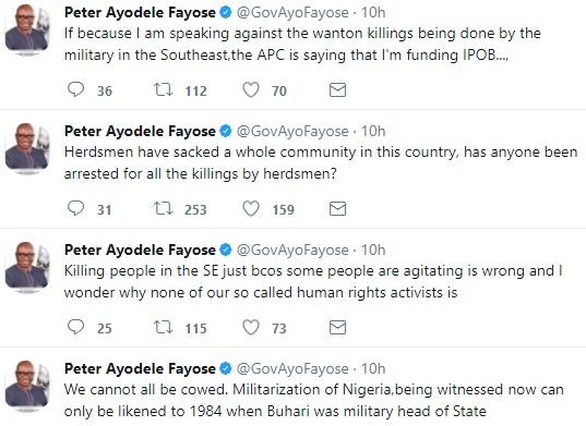 Governor Ayo Fayose reacts to allegations by APC that he is funding IPOB
