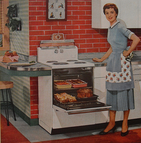 1950s style housewife cooking