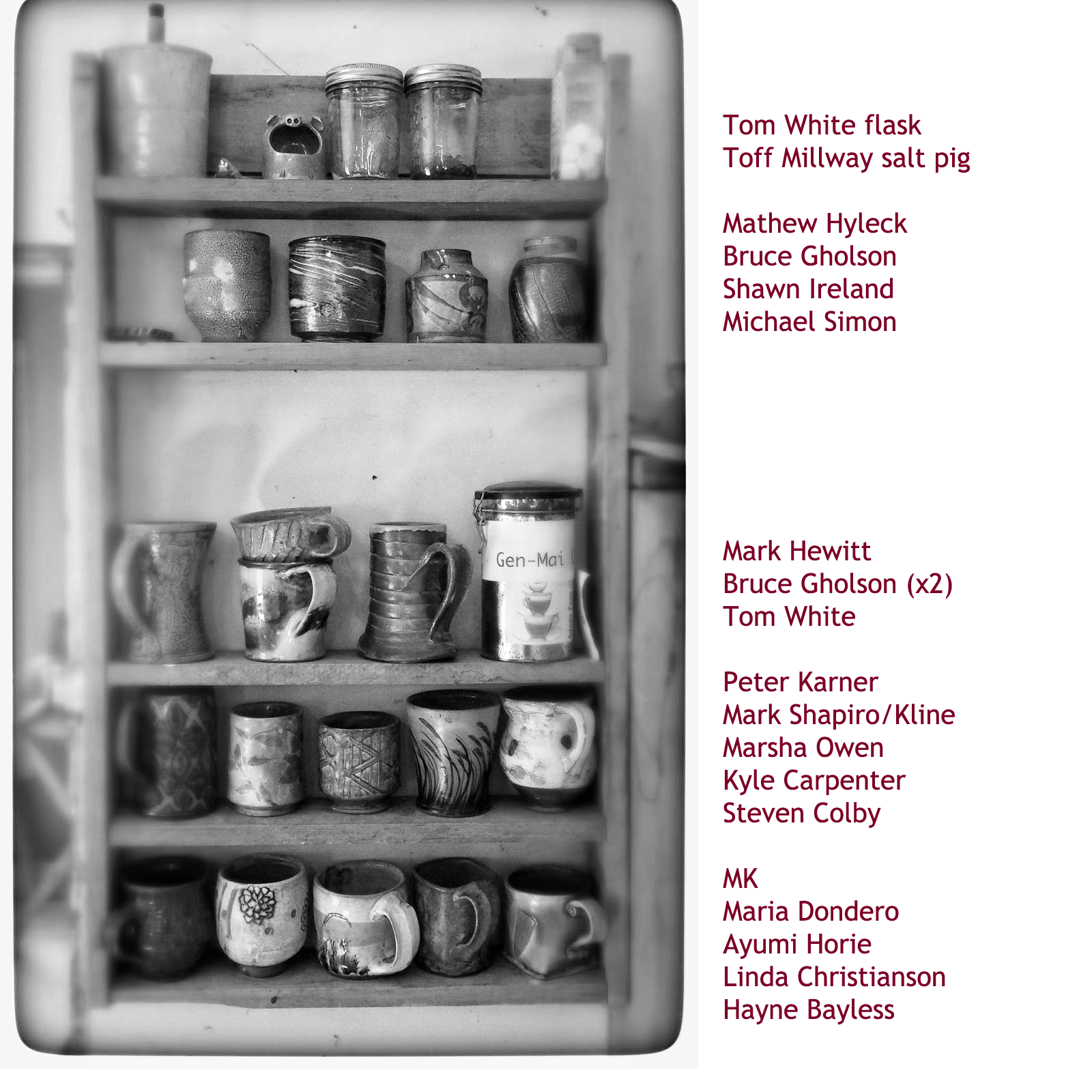 mug rack with pots from Tom White, Michael Simon, Kyle Carpenter, Shawn Ireland, Mark Hewitt, Bruce Gholson, Matt Hyleck, Maria Dondero, Ayumi Horie, Hayne Bayless