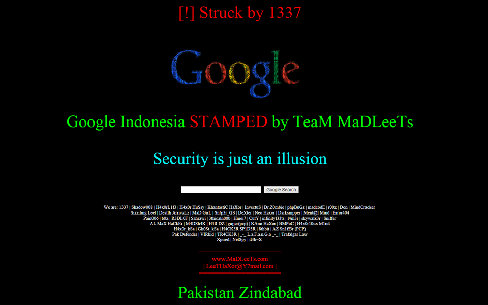 Deface by Team Madleets, Google Indonesia hacked, Google Indonesia got hacked, hacking Google domians, DNS hijacking, Google Indonesia defaced, hacked by leets, madleets hacked Google Indonesia