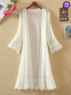 Collarless Decorative Lace Hollow Out Plain Three-Quarter Sleeve Cardigans (Price: $ 14.34)
