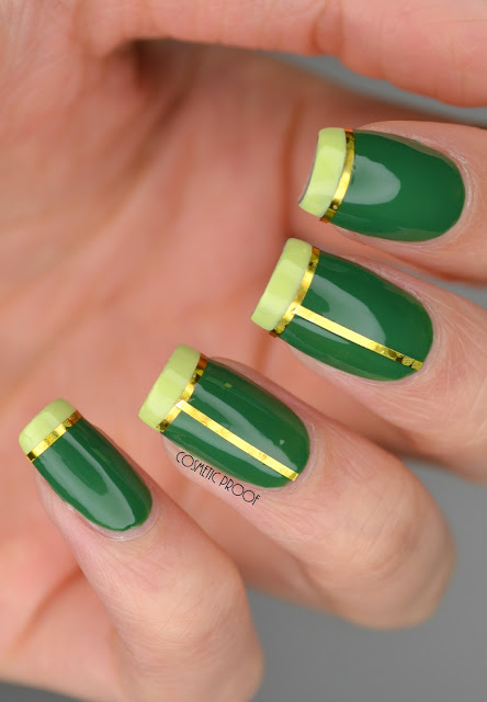 CND Green French Manicure Taping Nail Art