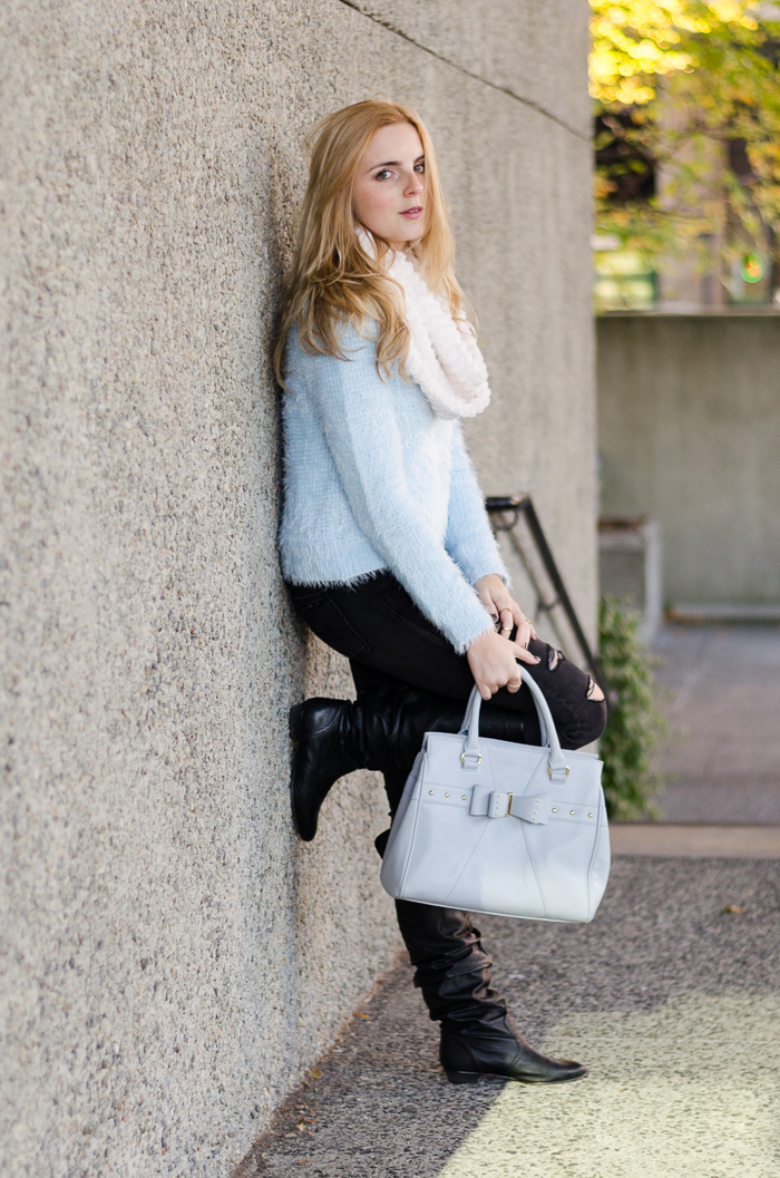 Light Blue Waffle Knit Forever 21 Sweater