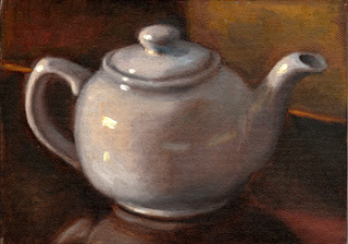 Oil painting of a white porcelain teapot sitting on a dark reflective surface.