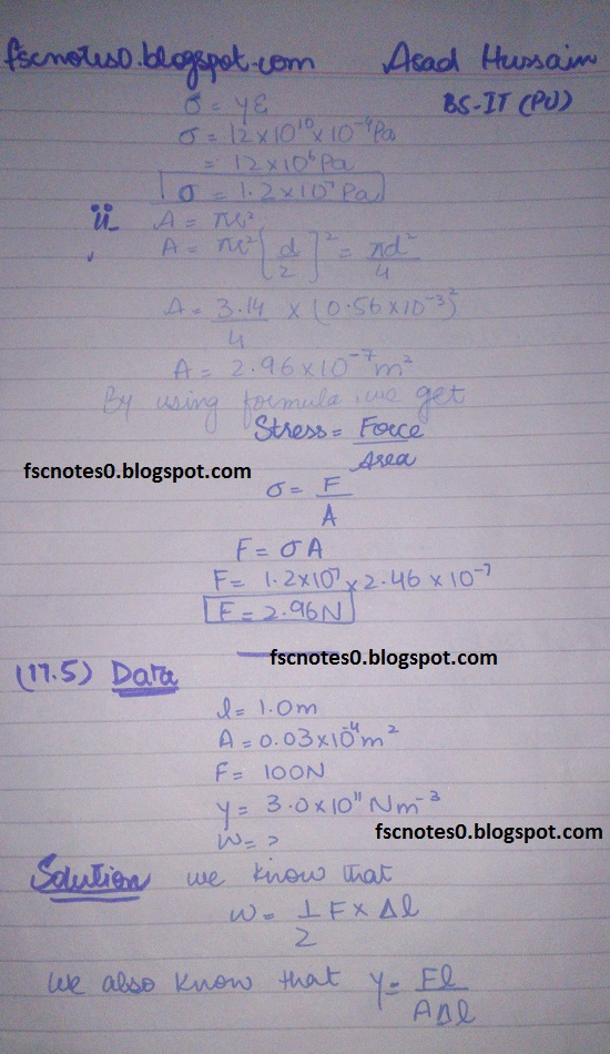 F.Sc ICS Notes: Physics XII: Chapter 17 Physics of Solids Numerical Problems by Asad Hussain 3