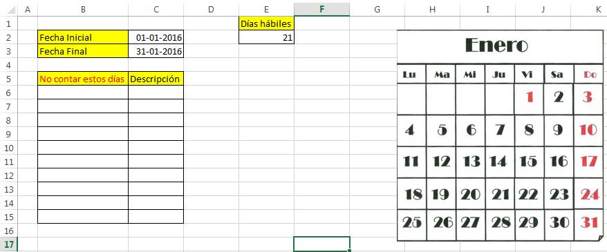 calcular dias por fechas excel