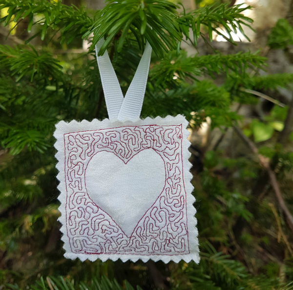 Heart free motion quilted ornament | DevotedQuilter.blogspot.com