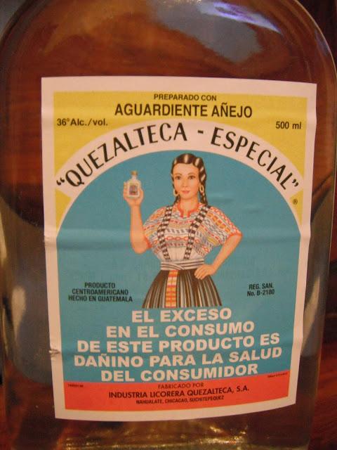 Quezalteca liquor label Guatmala