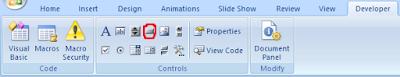 objek vba tab developer powerpoint 2007