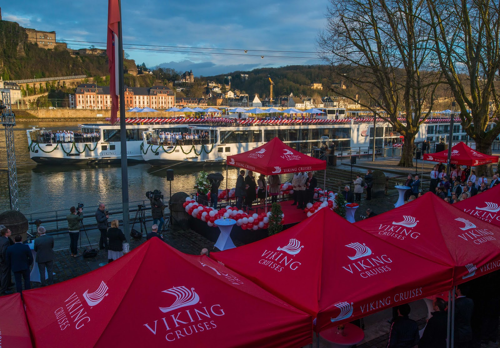 Where the legendary Rhine meets the Moselle in Koblenz, Germany, Viking River Cruises christened two Viking Longships last week, the Viking Hild and the Viking Herja. Photo: © Viking Cruises. Unauthorized use is prohibited.
