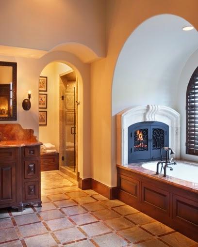 Diseño baño con chimenea