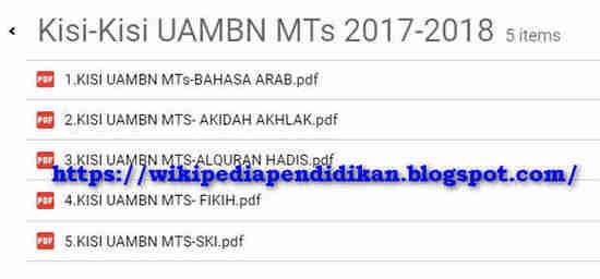Download Kisi-Kisi UAMBN MTs Tahun 2018 atau Tahun Pelajaran 2017/2018
