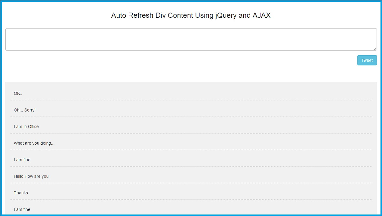 Auto Refresh Div Content Using jQuery and AJAX | Webslesson