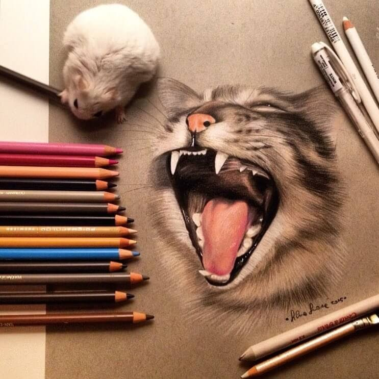 02-A-big-Yawn-Silvia-Leone️️-Cats-and-Dogs-Color-Pencil-Drawings-www-designstack-co