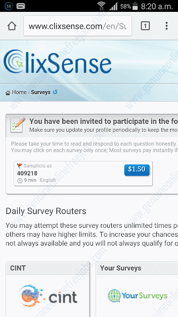 Clixsense mobile surveys