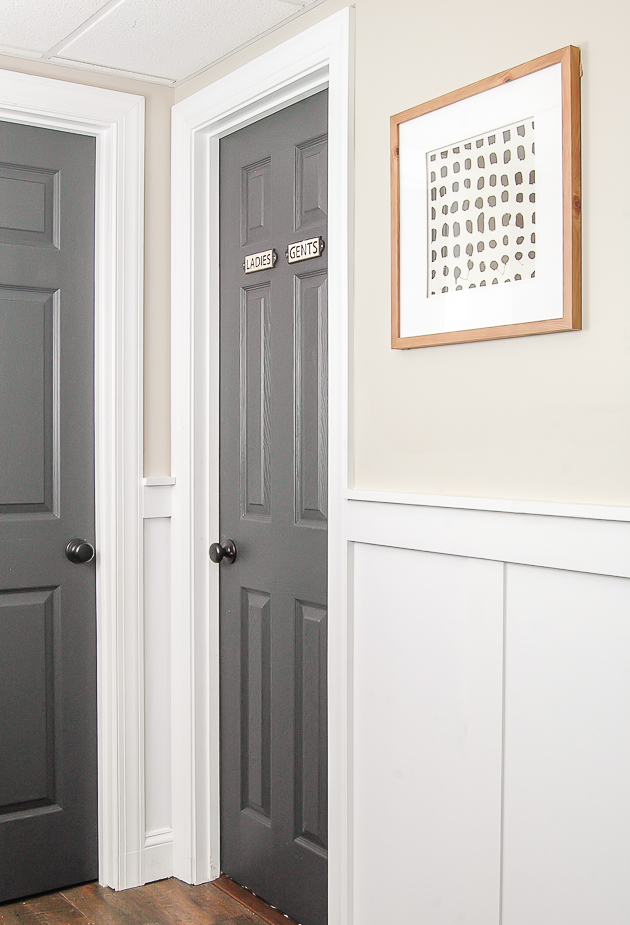 Sherwin Williams Iron Ore painted bathroom door