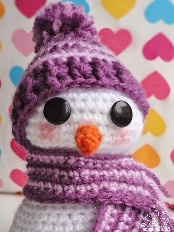 patron y tutorial muñeco nieve amigurumi