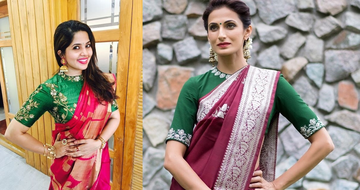 9c997033d6830  2 Embroidered pack neck blouse pattern for silk sarees